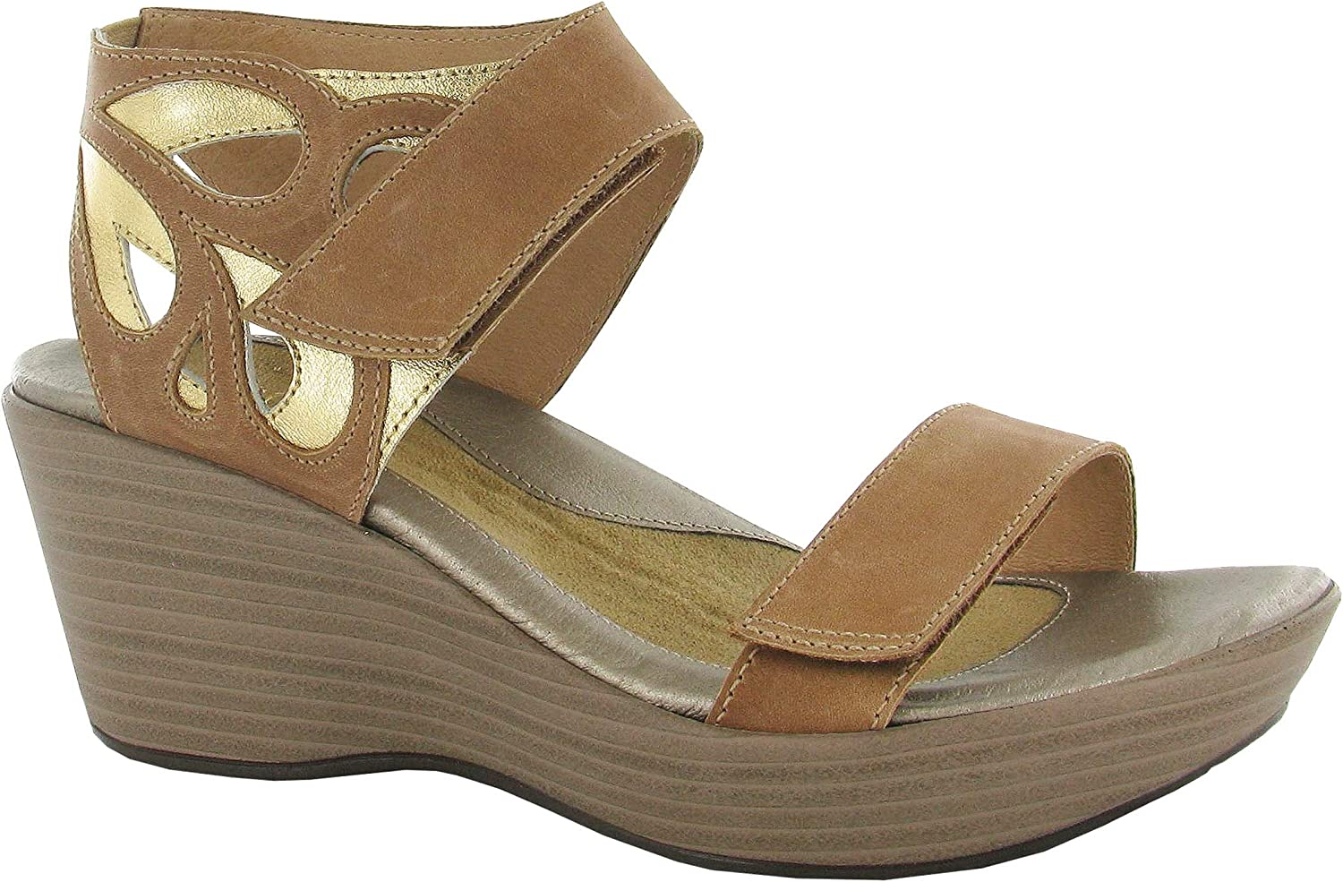 Naot Women's, Intrigue Mid Heel Wedge Sandal BROWN 4 M
