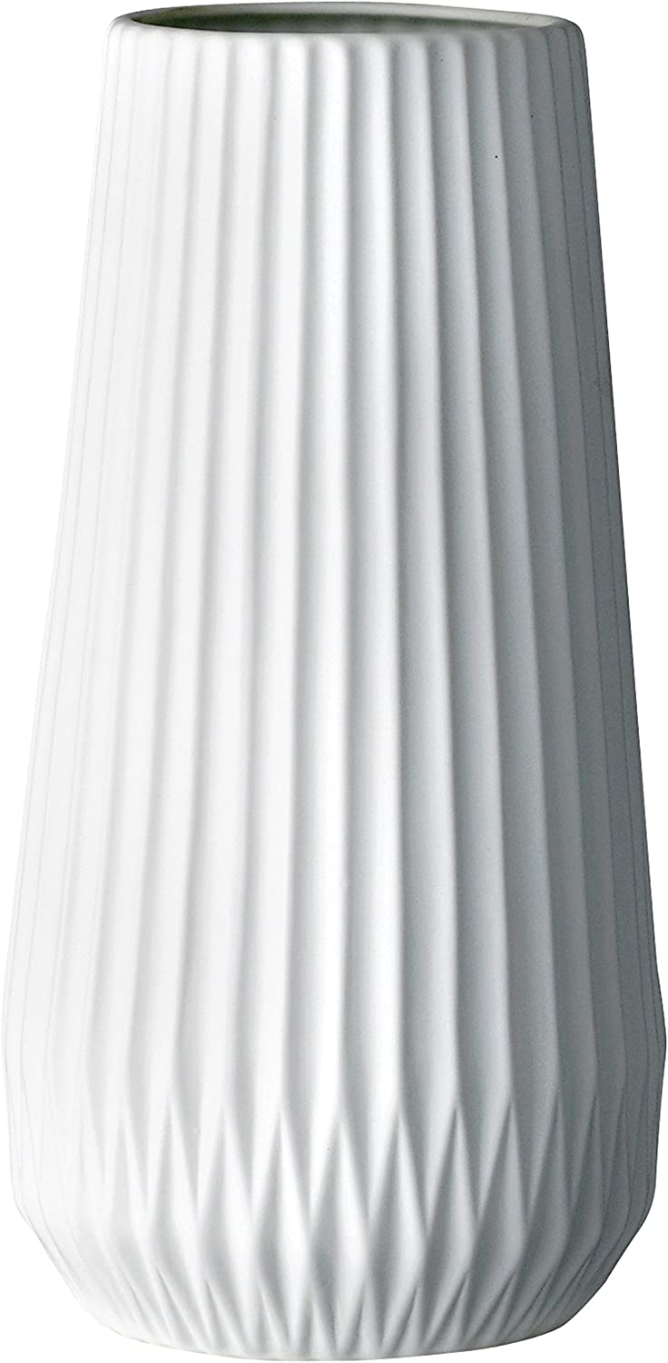 Bloomingville Tall Genuine White At the price of surprise Fluted Ceramic Vase