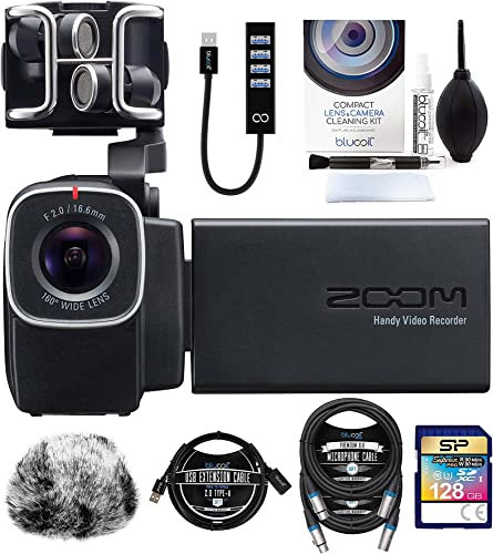 wholesale Zoom Q8 Handy Video Recorder Bundle with Silicon Power 128GB SDXC Memory Card, Blucoil Mic Furry Windscreen, USB-A Mini Hub, 3' USB Extension Cable, 2X 10' XLR new arrival Cables, and sale Camera Cleaning Kit outlet online sale