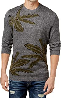 American Rag Mens Leaf Print Knit Crewneck Sweater
