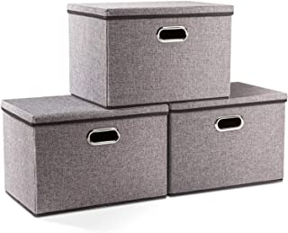Large Linen Fabric Collapsible Storage Bins with Lid [3-Pack]Foldable Storage Box Organizer Containers Basket Cubes with C...