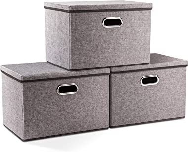 Prandom Large Collapsible Storage Bins with Lids [3-Pack] Linen Fabric Foldable Storage Boxes Organizer Containers Baskets Cu