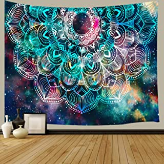 JAWO Mandala Wall Tapestry, Psychedelic Bohemian Hippie Mandala Flower on Colorful Universe Nebula Background Wall Hanging Tapestry for Bedroom Living Room Dorm Wall Decor Art Tapestry 71x60 inches