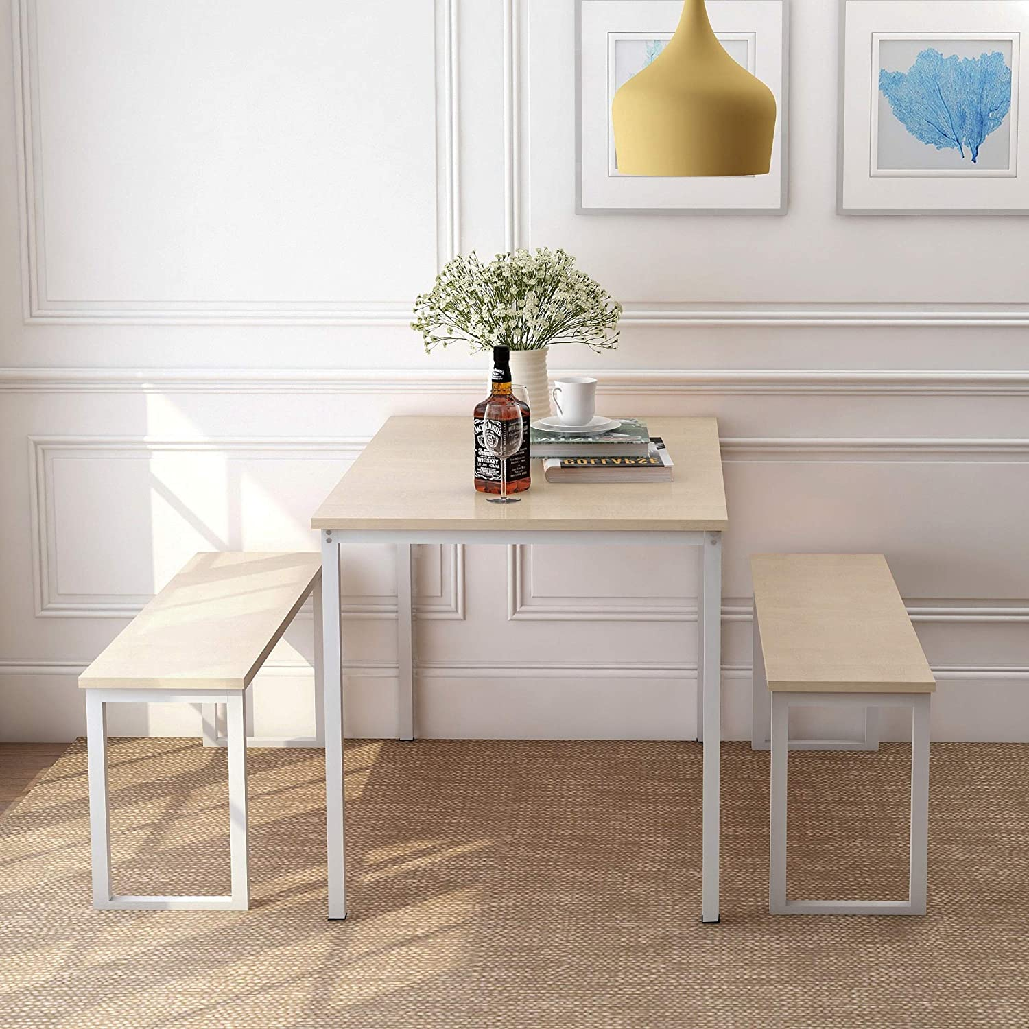 Harper Bright Designs 3 quality assurance All items in the store Pieces Dining Set with Table Benches 2