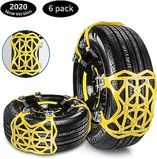 Qisiewell Universal Schneeketten 2020 Gelb Einfach zu montieren Reifen Schneekette für Jede Reifenbreite 165 285mm 6 teiliges Set