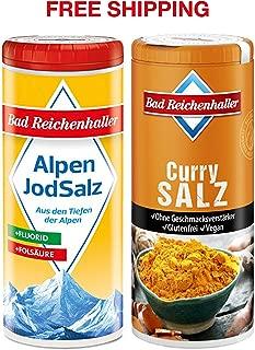 Curry Salt with Iodine and Folic Acid 90 g + Iodized Table Salt with Fluoride 125 g, Bad Reichenhaller/Germany