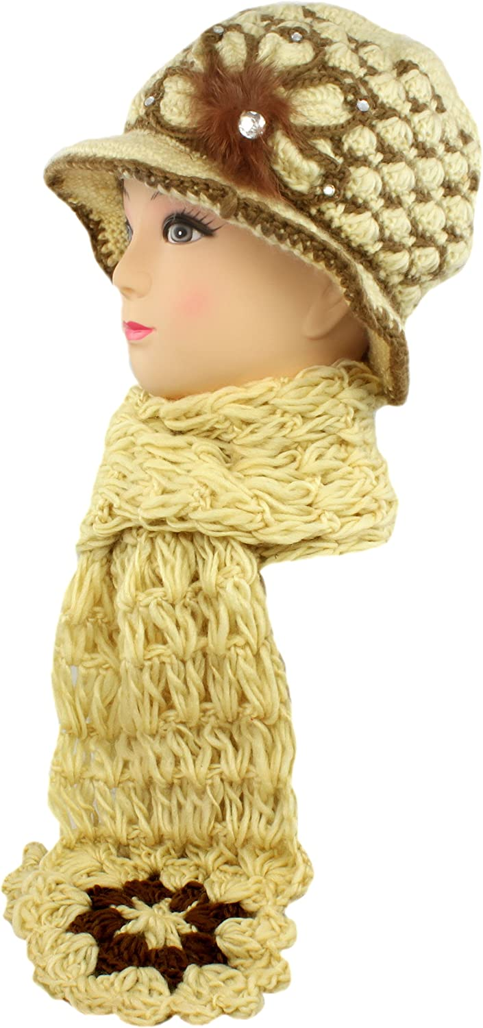 Faddism BEANSCAFBEG2 Beige Women Stylish Beanie with Sparklings and Scarf in Beige Design, Warm and Cozy, Perfect Gift Idea