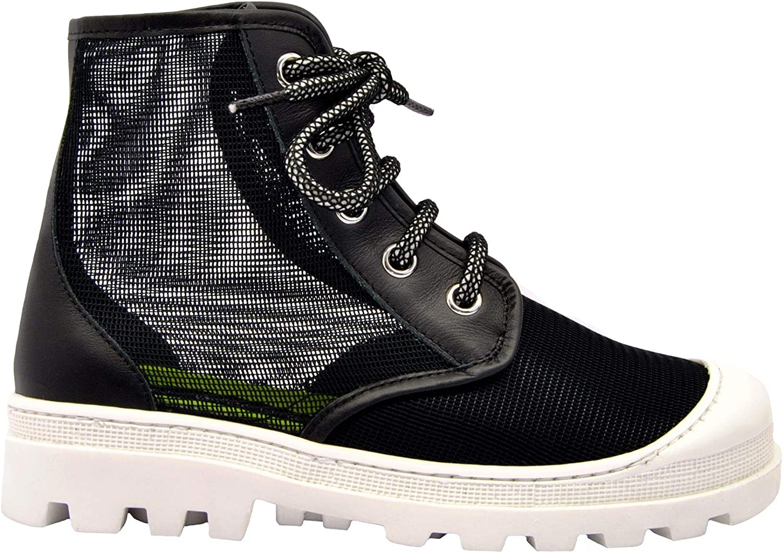 MY GREY Women's 030010BLACK Black Fabric Hi Top Sneakers