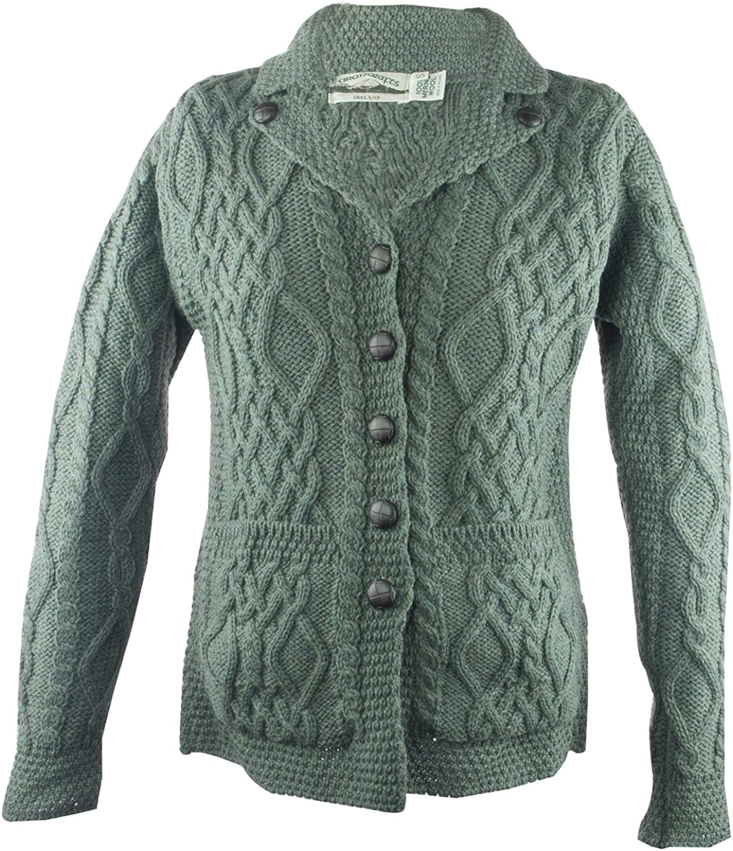 West End 100% Irish Merino Wool Revere Button Collar Sweater Green