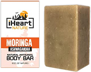 Organic Moringa Soap Bar (Large 6 Ounce) Made in USA (Ashwagandha with Anti-Aging Anti-Acne Properties Clears Pores and Blemishes) Ayurvedic Handmade Aromatherapy Soap
