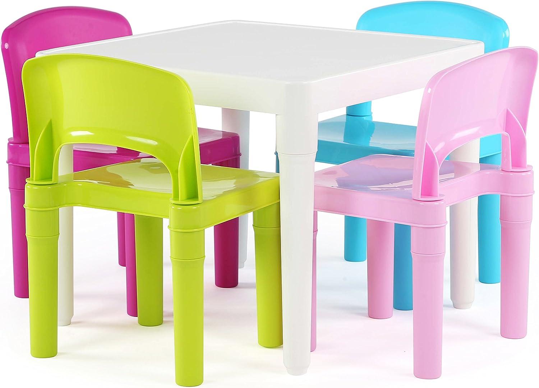 Humble Crew Kids Plastic 9 Set White Table/Pastel Chairs  Amazon ...