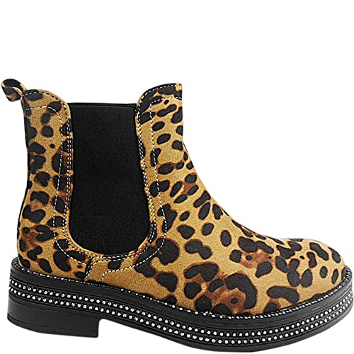 ab050216e Womens Ladies Chelsea Ankle Boots Leopard Animal Print Stud Chunky Heel  Shoes