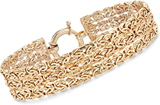 18kt Yellow Gold Over Sterling Silver 3-Row Byzantine Bracelet