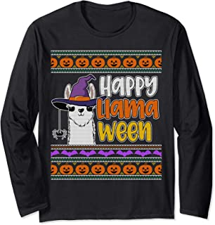 Ugly Halloween Sweater Style Funny Llama Happy LlamaWeen Long Sleeve T-Shirt