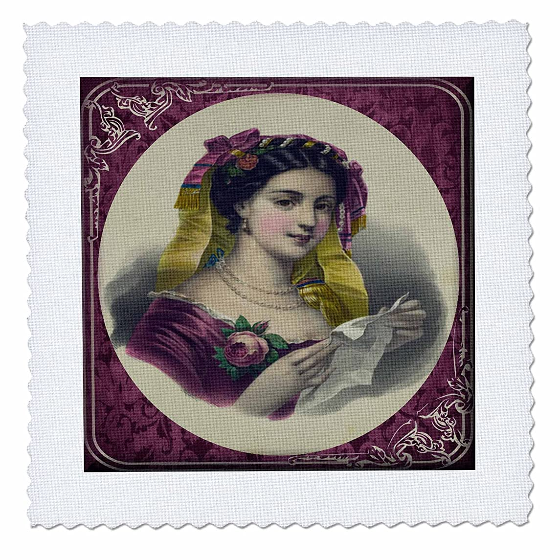 3dRose qs_21973_1 Victorian Lady in Maroon-Quilt Square, 10 by 10-Inch