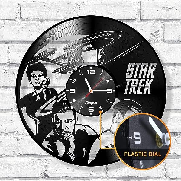 Star Trek Vinyl Record Clock Art Decor Movie Home Decor Star Trek Wall Art Decal Clock Gift For Him Father Unique Handmade Wall Clock Star Trek Gift Idea Star Trek Wall Decor Star Trek Clock Black