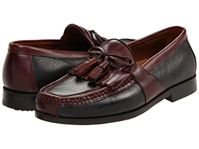 Johnston & Murphy Aragon Kiltie Tassel Loafer (Black Deer w/Antique Chestnut Waxhide Trim) Men