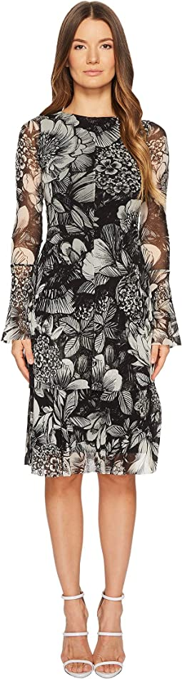FUZZI Long Sleeve Dress In Botanic Print