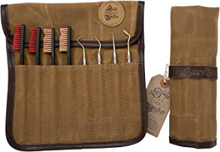 Gun Cleaning Brushes and Picks with Waxed Canvas Tool Roll