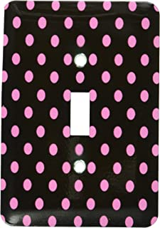 3dRose LLC lsp_20407_1 Black and Pink Polka Dot Print - Single Toggle Switch