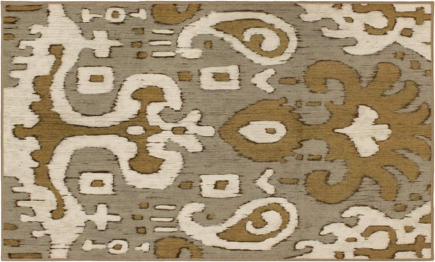 My セール 登場から人気沸騰 Magic Carpet Machine Washable Accent Ikat Gold Ochre 日本メーカー新品 Rug Grey