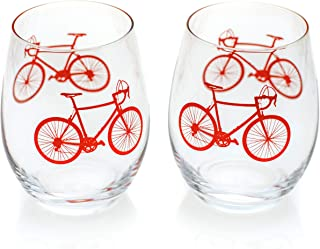Greenline Goods - Bicycle Stemless Wine Glasses (Set of 2) | 15 oz Drinkware with Colorful Bicycle Designs | Unique Gifts for Cyclists & Bike Riders [Red]