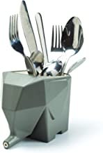 PELEG DESIGN Jumbo Cutlery Holder, Cute Plastic Elephant Cutlery Drainer Organizer Storage Box Toothbrush Holder for Bathroom Kitchen Sink, Gray