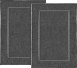 Utopia Towels - Alfombrillas de baño - 100% algodón Lavable en la Lavadora (Paquete de 2, 53 x 86 cm, Gris) - Altamente Absorbente