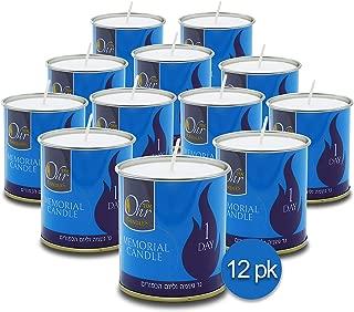 Ohr 1 Day Yahrzeit Candle - 12 Pack - 24 Hour Kosher Yahrtzeit Memorial and Yom Kippur Candle in Tin Cup Holder