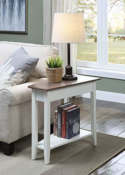 Convenience Concepts 7105060DFTW American Heritage Wedge End Table Driftwood Top White Frame