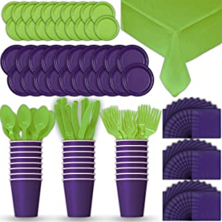 Paper Tableware Set for 24 - Purple & Lime Green - Dinner and Dessert Plates, Cups, Napkins, Cutlery (Spoons, Forks, Knives), and Tablecloths - Full Two-Tone Party Supplies Pack