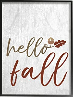 The Stupell Home Décor Collection Hello Fall Oak Leaves and Acorn Framed Giclee Texturized Art, 11 x 14