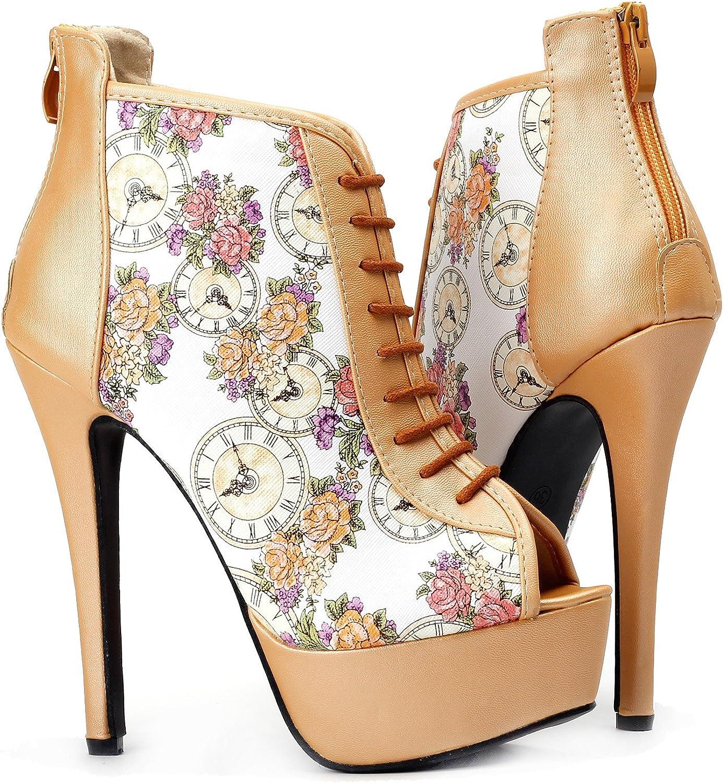Show Story Glam Open Toe Floral Clock Platform Stiletto Ankle Bootie Pump,LF80840