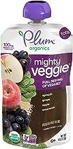 Plum Organics Mighty Veggie Spinach, Grape, Apple & Amaranth, 4oz (Pack of 6)