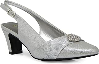 Enzo Romeo cambria02 Women's Wide Width Sling Back Low Heeled Pointy Pumps Sandals Shoes