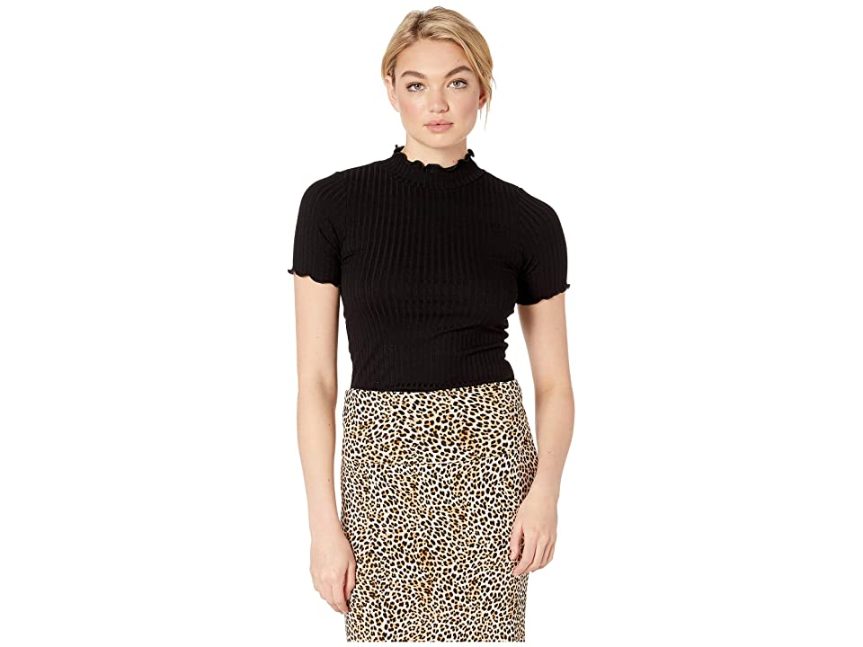 LNA Camille Top (Black) Women's Short Sleeve Pullover