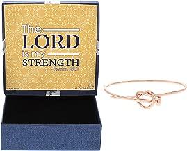Christian Jewelry Psalm 28:7 Crucifixion Nail Bangle Rose Gold-Tone Bracelet Jewelry Box