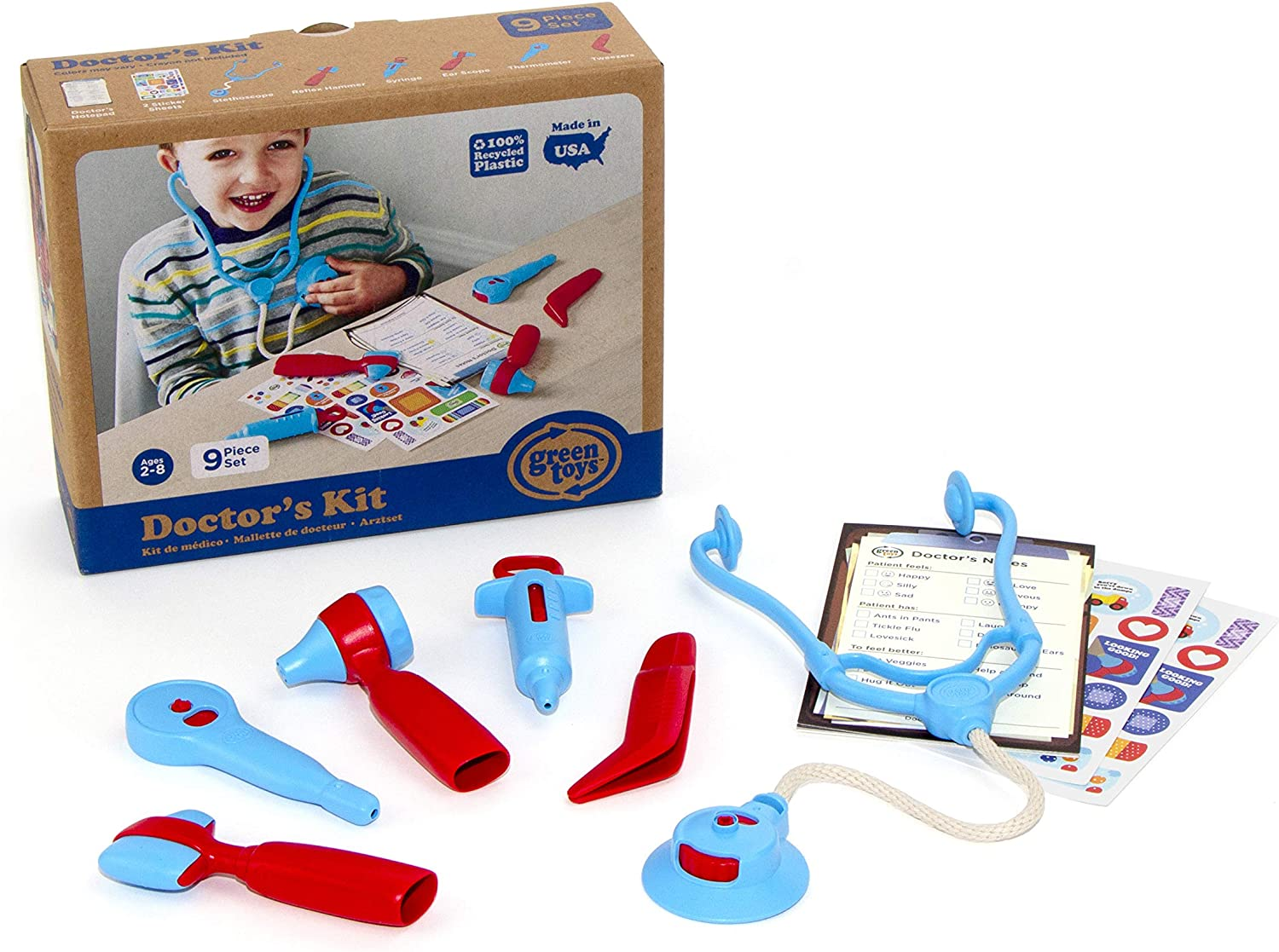 Green Toys Doctor's Kit, Red/Blue - 9 Piece Pretend Play, Motor Skills, Language & Communication Kids Role Play Toy. No BPA, phthalates, PVC. Dishwasher Safe, Recycled Plastic, Made in USA.