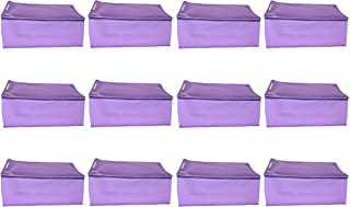 KANUSHI Industries Set of 12 Pc Box Type Non Woven Fabric Saree Cover/Saree Cover Bags with Stainless Steel Zip Lock Combo (Large) (Purple)