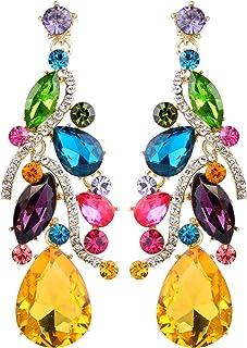 BriLove Women's Bohemian Boho Crystal Multi Teardrop Filigree Cluster Chandelier Dangle Earrings