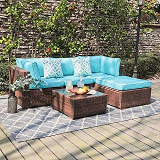 OC Orange-Casual 5 Piece Outdoor Furniture Sectional Sofa, Patio Brown PE Rattan Wicker Sofa with Turquoise Cushions & Modern Glass Coffee Table & Ottoman, Garden, Backyard, Pool