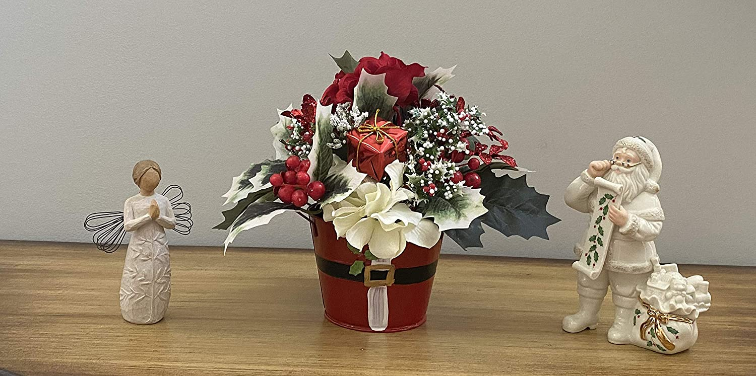 Shipping included Excellence Santa Claus Christmas tin with silk flowers