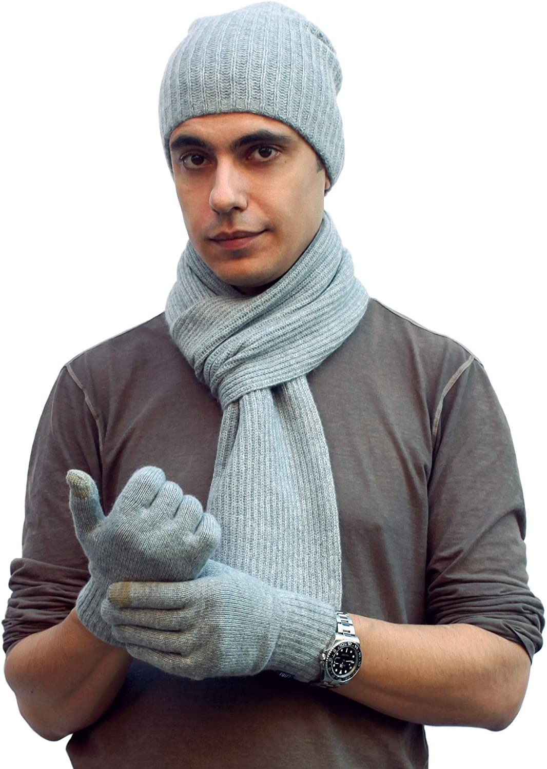 Men's Hat and Scarf Set 100% Cashmere for Winter Extra Warm