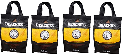 BlackSellig 10 kg Beachies (4 x 2,5 kg) Kokos Grill Briketts Reine Kokosnussschalen..