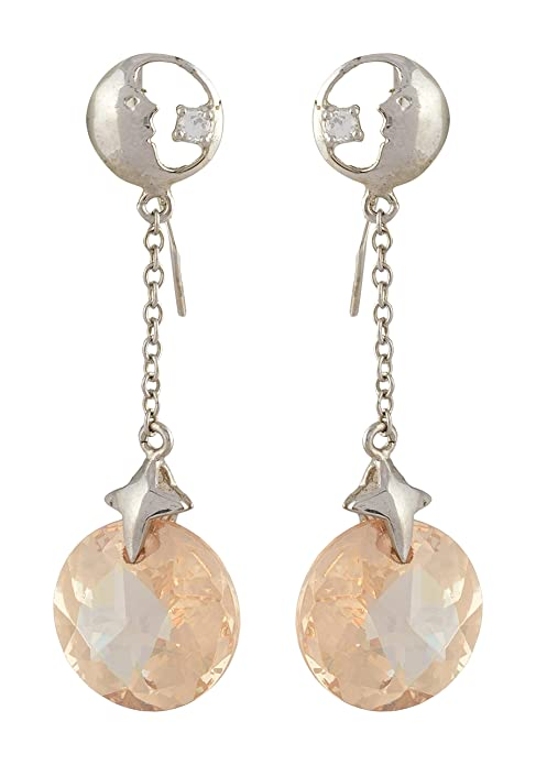 Babli Earrings Zirconia Stone Hanging Round in 925 Sterling Silver