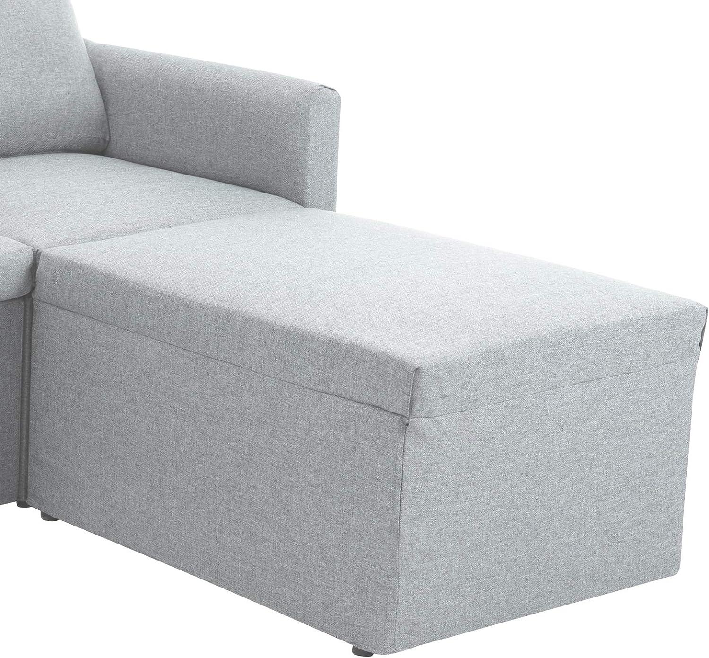 jeerbly Fauteuil moderne capitonné en tissu doux pour le salon, à assembler à volonté, gris foncé Gris Clair 2 Pièces.