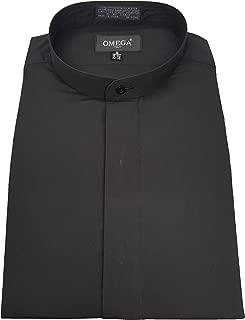 OmegaTux Men's Banded Collar(Mandarin Collar) Black Dress Shirt, Non Pleat