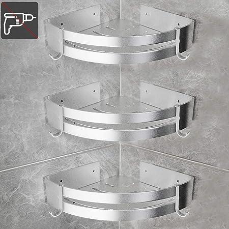 Mixnon Estante de esquina para ducha sin perforaci/ón,Aluminio espacial cesta de ducha autoadhesiva para ba/ño organizador de estantes de cocina,Espesar prueba de herrumbre,2 paquetes