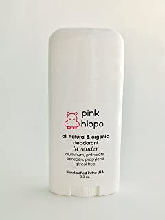 Pink Hippo All Natural Deodorant- Lavender Organic, Aluminum-Free, Phthalate- Free, Paraben- Free 3.3oz …