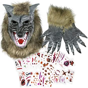 EPN Halloween Werewolf Mask and Claw Gloves with Temporary Scar Tattoos Stickers